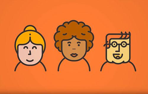 Tre tecknade figurer mot orange bakgrund