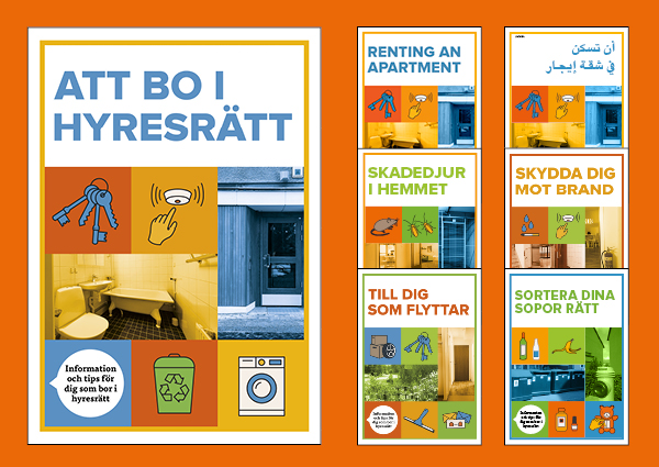 Framsidan på färgglada broschyrer