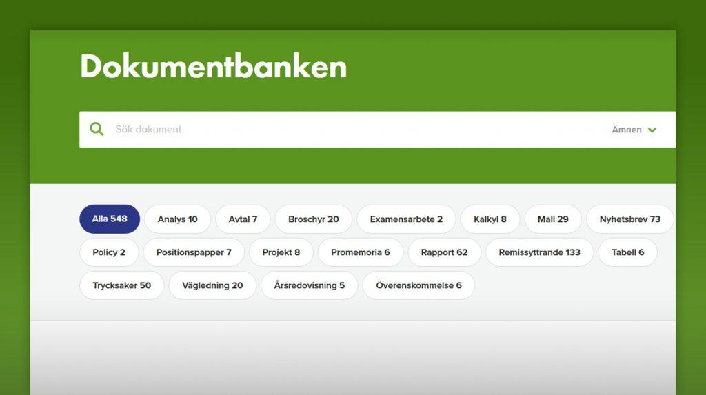 skärmavbild från sökfunktionen i dokumentbanken