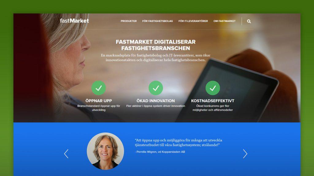 Skärmavbild från startsidan på fastmarket.se