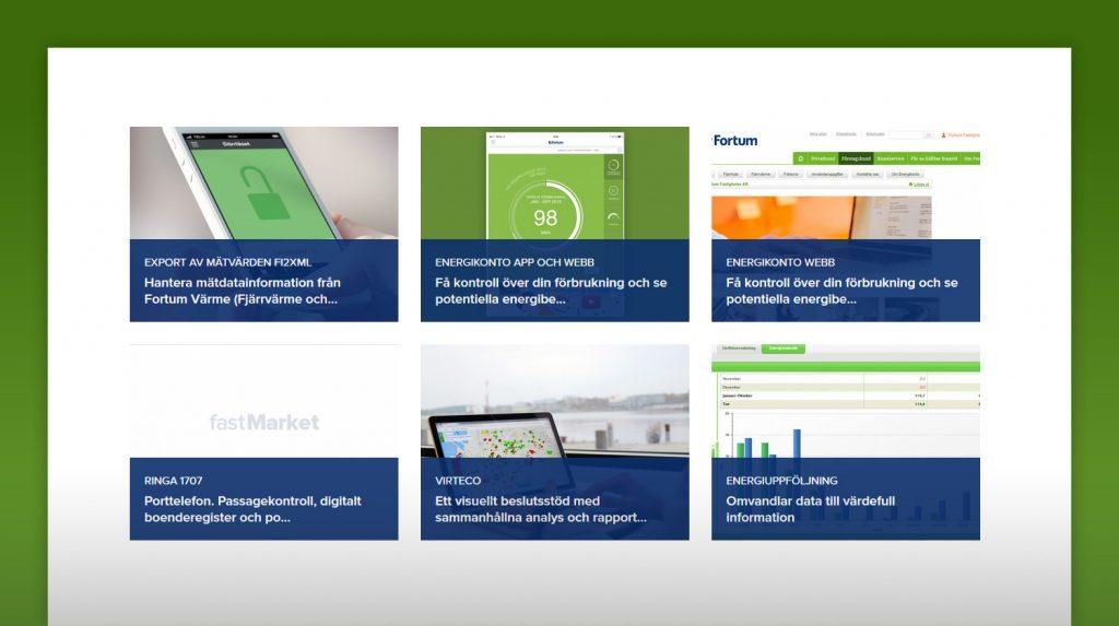 Skärmavbild från fastmarket.se på några av produkterna