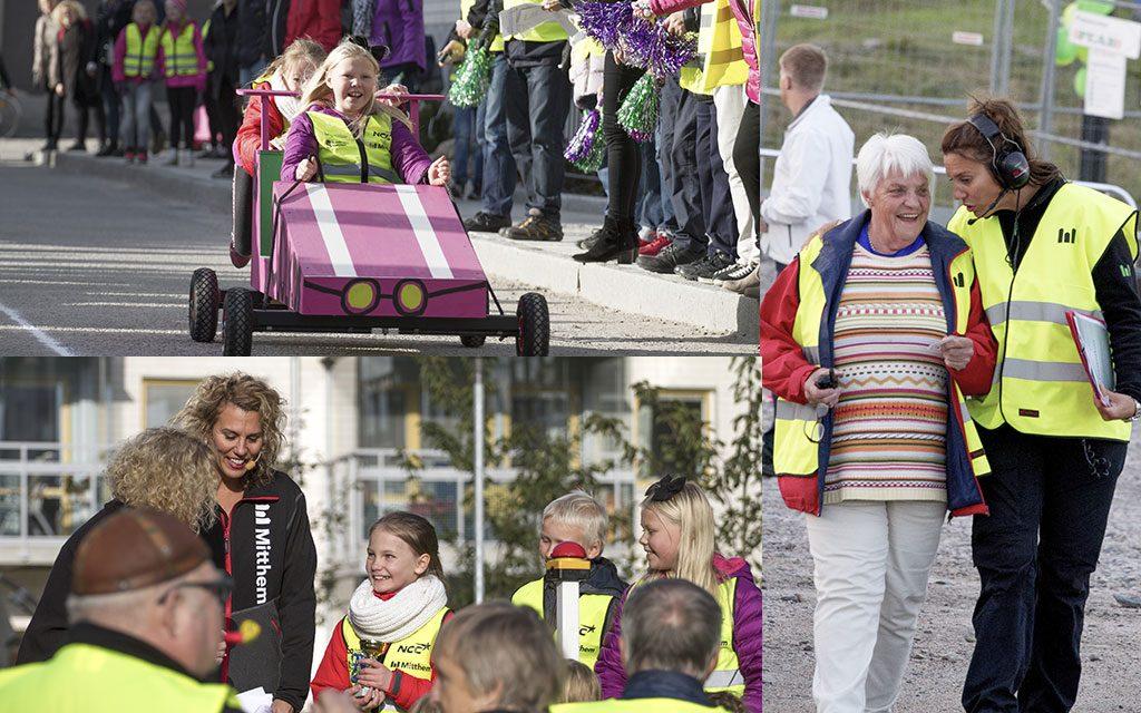 Kollage med barn, vuxna och äldre som samlas runt lådbilar