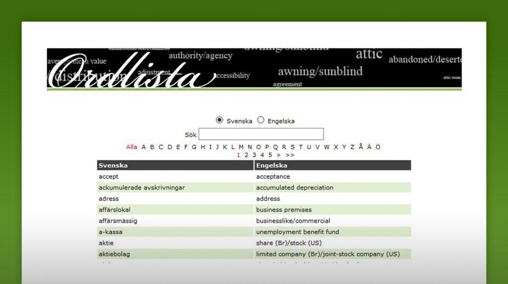 skärmklipp från ordlisteverktyget