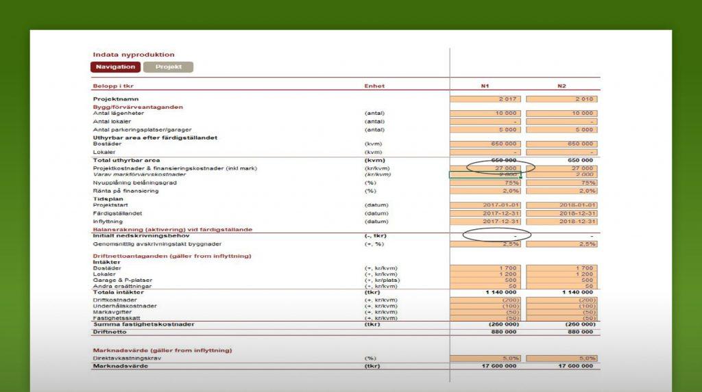 Skärmavbild från systemet