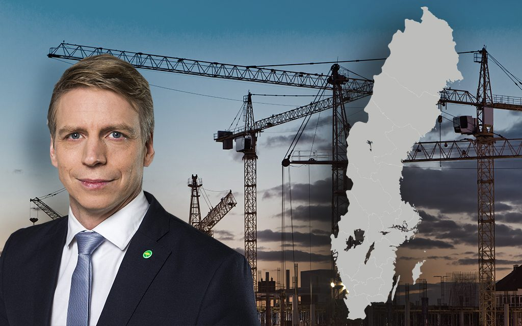 Fotomontage. Bilden på bostadsminister Per Bolund: Kristian Pohl/Regeringskansliet