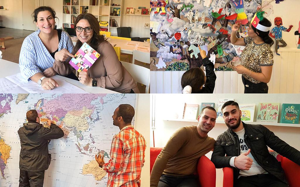 Fyra bilder som visar exempel från innovationslabbens verksamhet: lästräffar för barn och vuxna, konstkollo, världskarta med plats för nålar från deltagarnas hemländer och två män som driver verksamhet på labbet i Lina Hage.