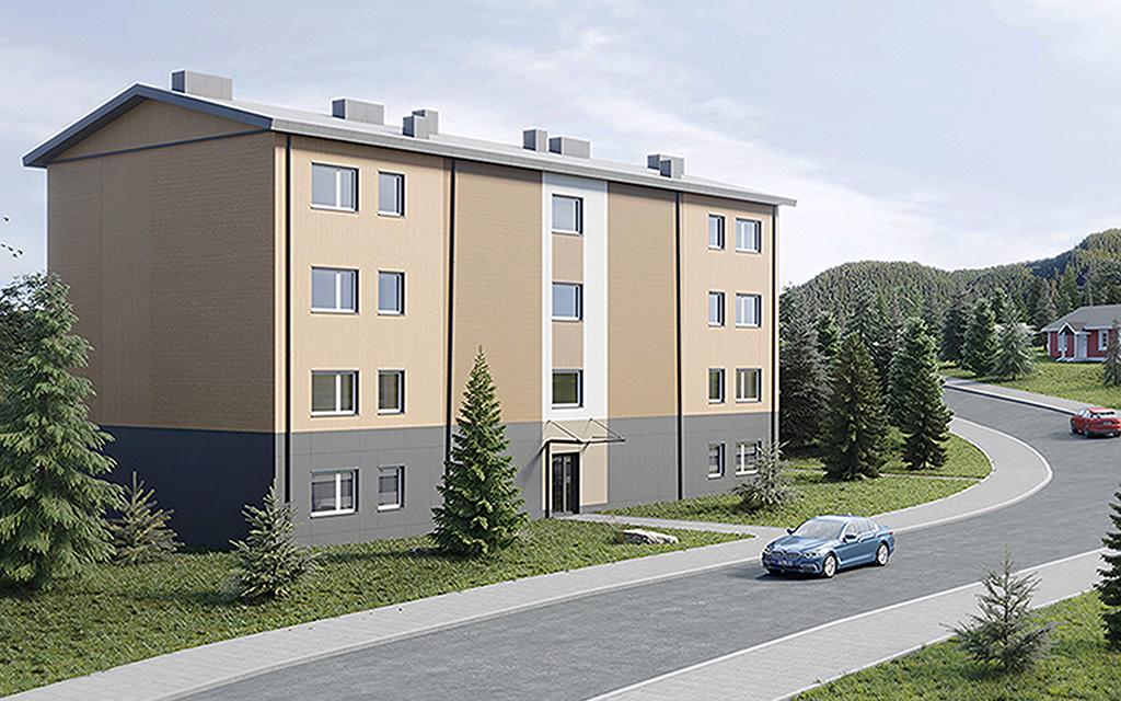 Smalt beigefärgat fyrvåningshus vid gata - arkitektskiss