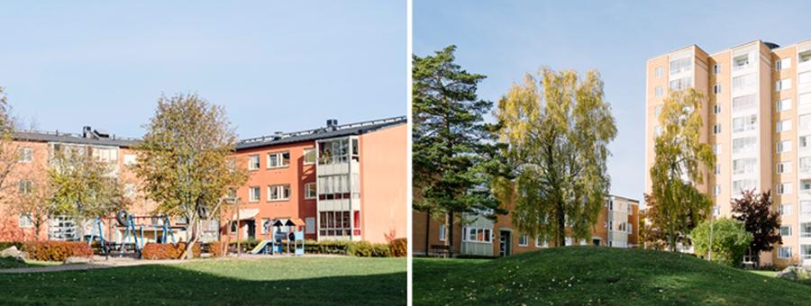 Två bilder av flerbostadshus, ett lägre med en lekplats på innergården i förgrunden och ett högre punkthus med en grön kulle i förgrunden