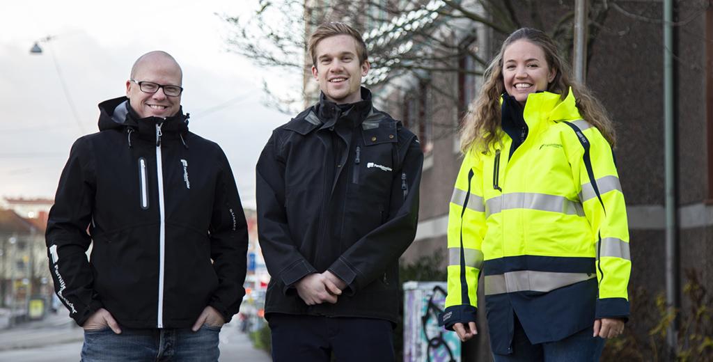 Återbruk hos Familjebostäder - Mikael Lunneblad (KMA-samordnare), Filip Elfström (biträdande projektledare), Josephina Wilson (projektutvecklare).