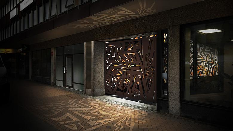Illustration över gångtunnel med belysning och färgsprakande abstrakt konst på väggarna