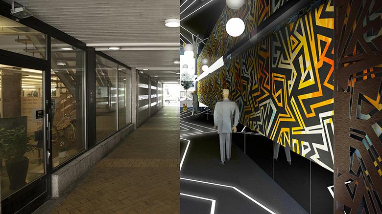 Foto på den befintliga tunneln och en illustration över hur tunneln kommer att se ut efter omdaningen, med lysande konst på väggarna och skarp belysning.