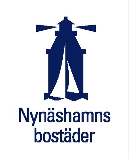 Logotype för Nynäshamnsbostäder med en stiliserad fyr.