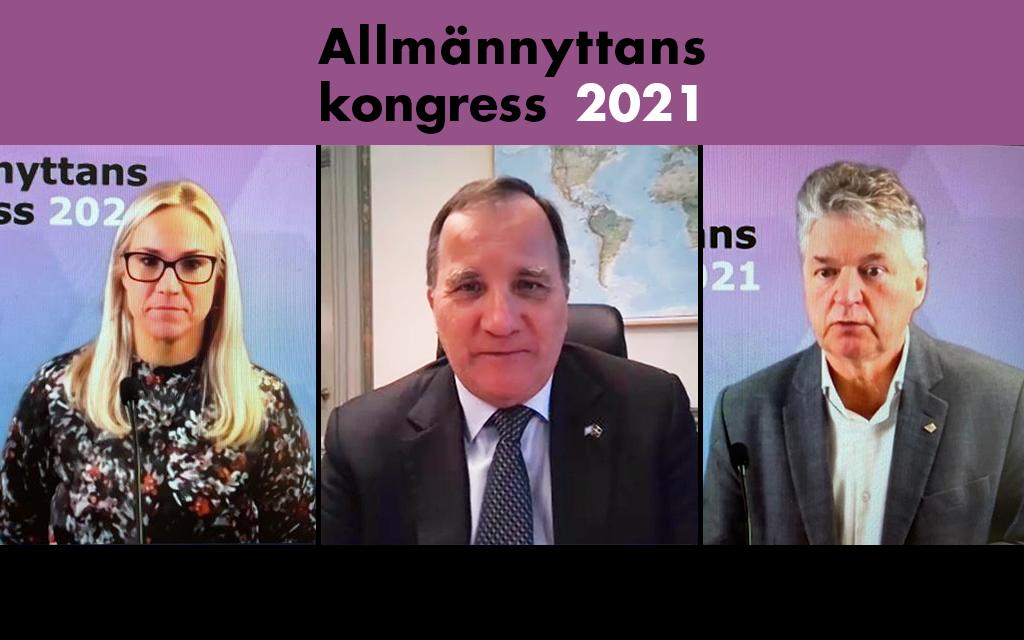 Åsa Johansson, styrelseordförande Sveriges Allmännytta, Stefan Löfven, statsminister och Anders Nordstrand, vd Sveriges Allmännytta.