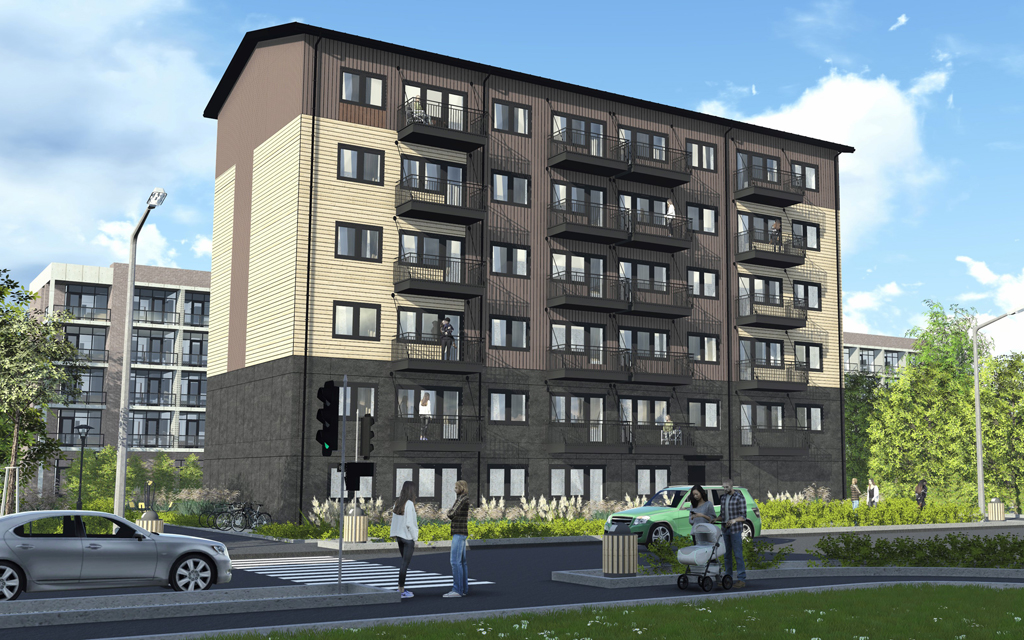 Arkitektillustration av sexvåningshus i brun och beige kulör i kvartersmiljö.