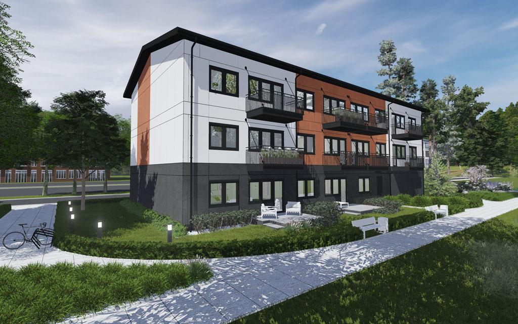 Arkitektillustration av trevåningshus med bottenvåning i mörkgrå färg och övre våningar i vitt och rött