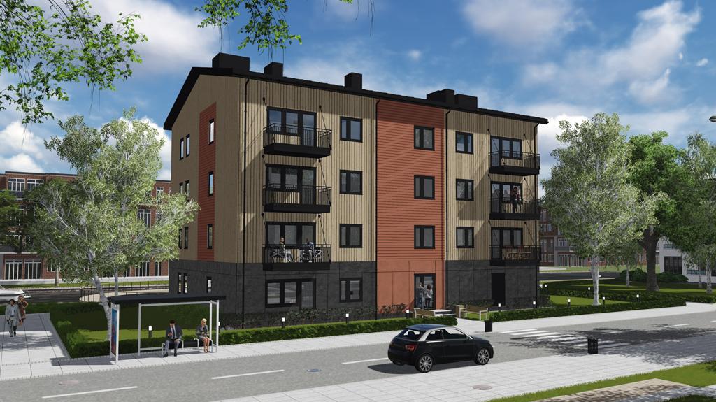 Illustration av fyrvåningshus i beige, orange och mörkgrå kulör