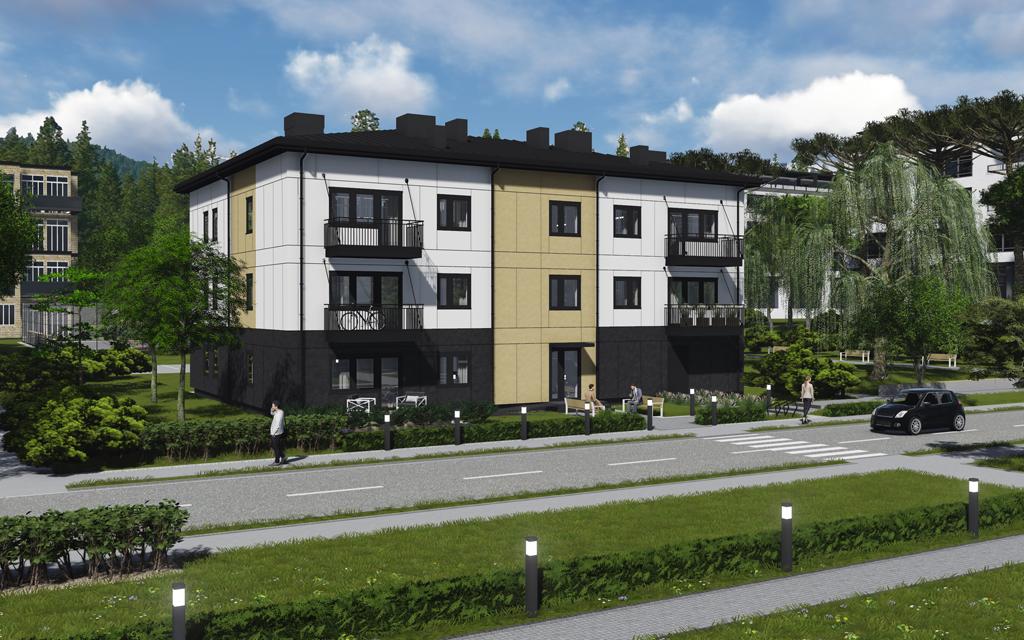 Arkitektillustration av trevåningshus i vit och beige färg invid en gata.