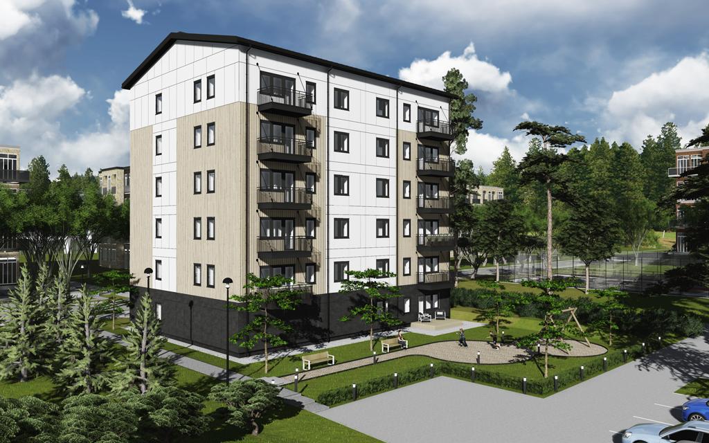 Arkitektillustration av sexvåningshus i vite och beige kulör invid en parkeringsplats samt andra hus i bakgrunden